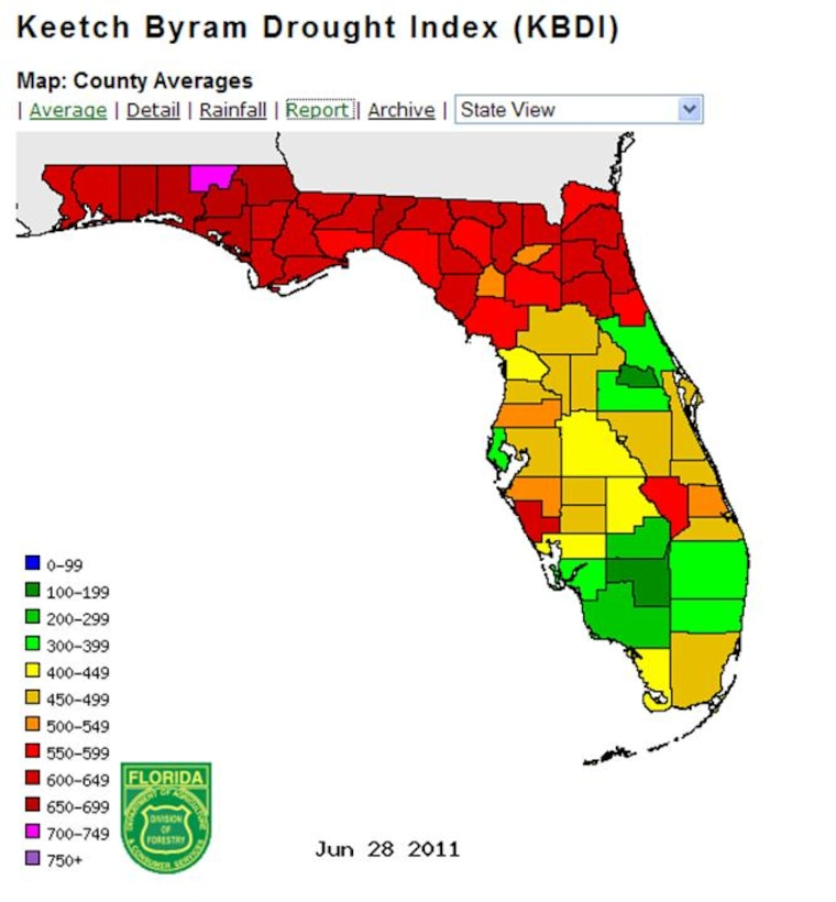 Keetch Byram Drought Index (KBDI) for Florida 28 June 2011