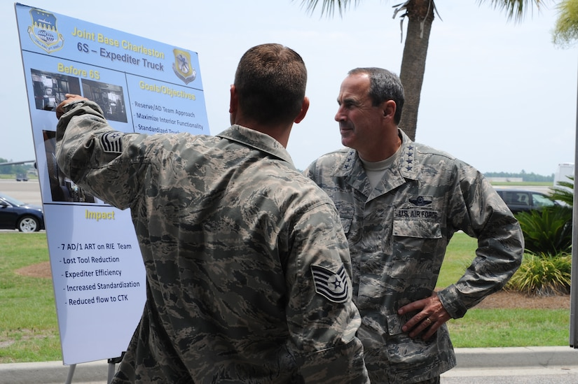 Tech. Sgt. Michael Payne briefs Gen. Raymond E. Johns Jr. on the 6S- Expediter Truck at Joint Base Charleston- Air Base, S.C. June 29. The general toured JB CHS- AB and Weapons Station during his two day visit. Johns is the Air Mobility Command commander and Payne is with the 437th Aircraft Maintenance Squadron. (U.S. Air Force photo/ Staff Sgt. Nicole Mickle)
