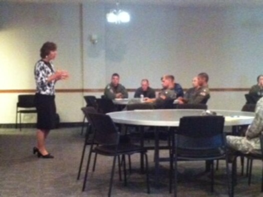 Anne Munch, an attorney with 22 years of experience advocating for and prosecuting on behalf of victims of violent crime, briefed senior leaders on annual sexual assault prevention training here June 27 and 28.(U.S. Air Force Courtesy Photo)