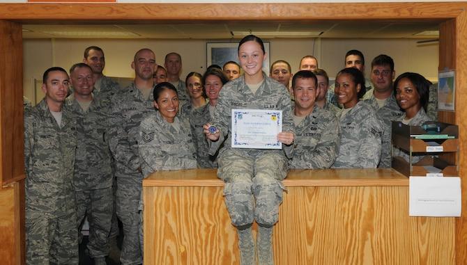Airman 1st Class Ashleigh Romero, 36th Civil Engineer Squadron operations management technician, was awarded Andersen's Best here June 30.
