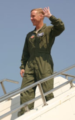 Col. Scott Forest is all smiles after his final flight as the 552nd Air Control Wing vice commander. (Air Force photo)