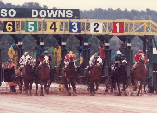 Marc Polanco, second from the right, bursts out of the starting gate on a champion quarter horse at the World's Championship Quarter Horse Classic Trials at Ruidoso Downs, New Mexico, July 21, 1994. Polanco's racing days were an interesting chapter on his path to becoming a first sergeant in the Arizona Air National Guard. (Courtesy photo)