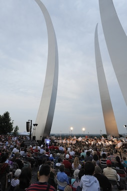 The U.S. Air Force Band performs at the Air Force Memorial, Arlington, Va., in honor of Independence Day July 4. The USAF Band's performance honored service members, past and present. (U.S. Air Force photo by Staff Sgt. Christopher Ruano)