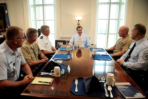 Defense Secretary Leon E. Panetta hosted a luncheon for the senior enlisted advisors from each service at the Pentagon July 6, 2011. From left to right, the advisors were: Master Chief Petty Officer of the Coast Guard Michael P. Leavitt; Master Chief Petty Officer of the Navy Rick D. West; Sgt. Maj. of the Army Raymond F. Chandler III; Sgt. Major of the Marine Corps Michael Barrett; and Chief Master Sgt. of the Air Force James A. Roy.  (Defense Department photo/ Tech. Sgt. Jacob N. Bailey)