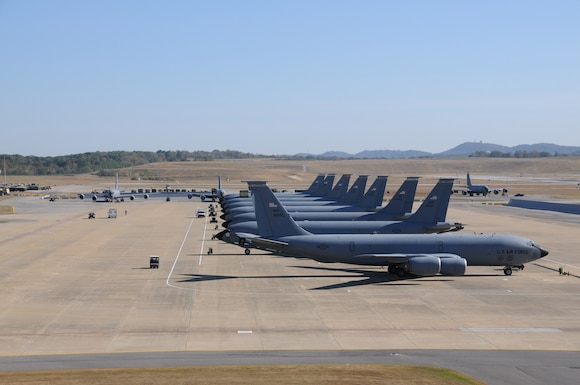 "KC-135R aircraft fill the flightline at the 117th Air Refueling Wing, Alabama Air National Guard, Birmingham, Alabama, on 20 October 2010. This ""first"" was the result of on-going exercises and equipment utilization from multiple unts...""Released"".USAF Photo by MSgt. Mark Owen.Maj. Pamela Carroll, 117th Public Affairs Officer"