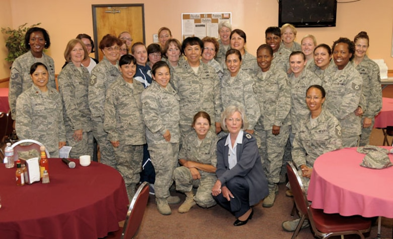 Major General Mary J. Kight, Assistant Adjutant General-Air, California National Guard poses with a group of female Airmen for a picture during her visit to the 146th Airlift Wing, Channel Islands Air National Guard Station, California, on July 09, 2011. MG Kight met with Airmen during two sessions to discuss her views on the value of leadership, mentoring programs and continuing education in the Guard.