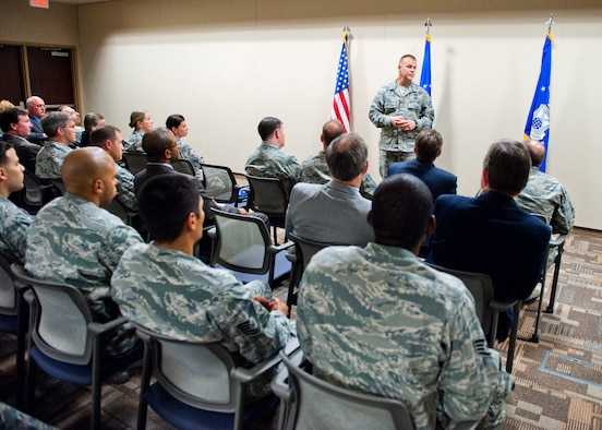 "Chief Master Sergeant of the Air Force James A. Roy speaks to civilians and military members July 11, 2011, during an ""all-call"" at the Air Force Office of Special Investigations headquarters at Marine Corps Base Quantico, Va. (U.S. Air Force photo/Mike Hastings)"