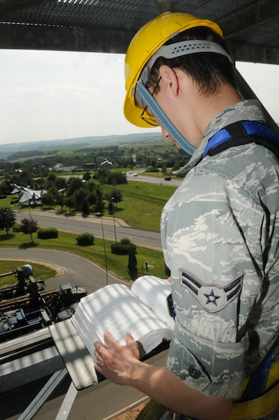 SPANGDAHLEM AIR BASE, Germany – Airman 1st Class Mark Detwiler, 52nd Communications Squadron ground radar systems apprentice, reads an instruction checklist prior to performing preventative maintenance on a radar system here July 5. The 52nd CS's ground radar systems Airmen are on the job all hours of the day to maintain and control the two radar systems that send information to the air-traffic control tower. (U.S. Air Force photo/Senior Airman Nick Wilson)