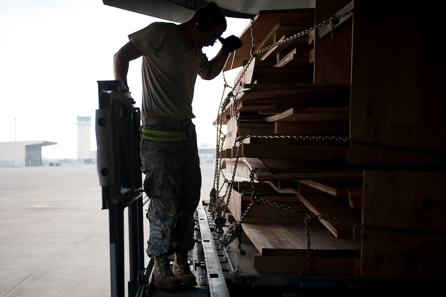Staff Sgt. Nicolas Pantoja, 728th Air Mobility Squadron Aerial Port Flight, wipes away sweat while loading cargo onto a C-17 Globemaster III aircraft July 11, 2011, at Incirlik Air Base, Turkey. The aerial port flight is responsible for transportation-related functions including the movement of freight bound for Europe, Africa, and Southwest and Central Asia. (U.S. Air Force photo by Tech. Sgt. Michael B. Keller/Released)