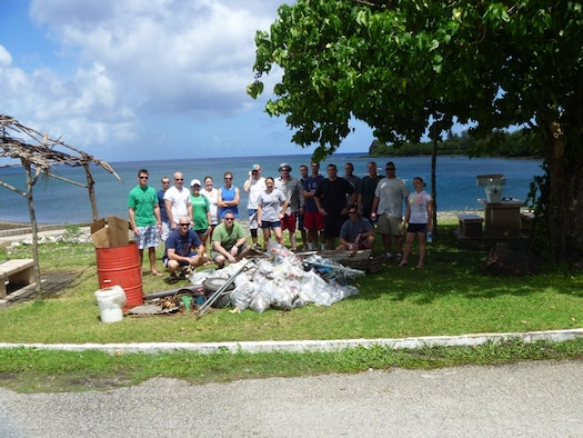 Deployed here in support of Andersen's Continuous Bomber Presence, members of the 96th Expeditionary Bomb Squadron began a 9+6 Beach Cleanup project shortly after their arrival in April. The initiative, aimed at cleaning nine coastal village beaches and six military beaches on the island, earned the unit Guam Chamber of Commerce's Na' La' Bonita Award. (U.S. Air Force Courtesy Photo)