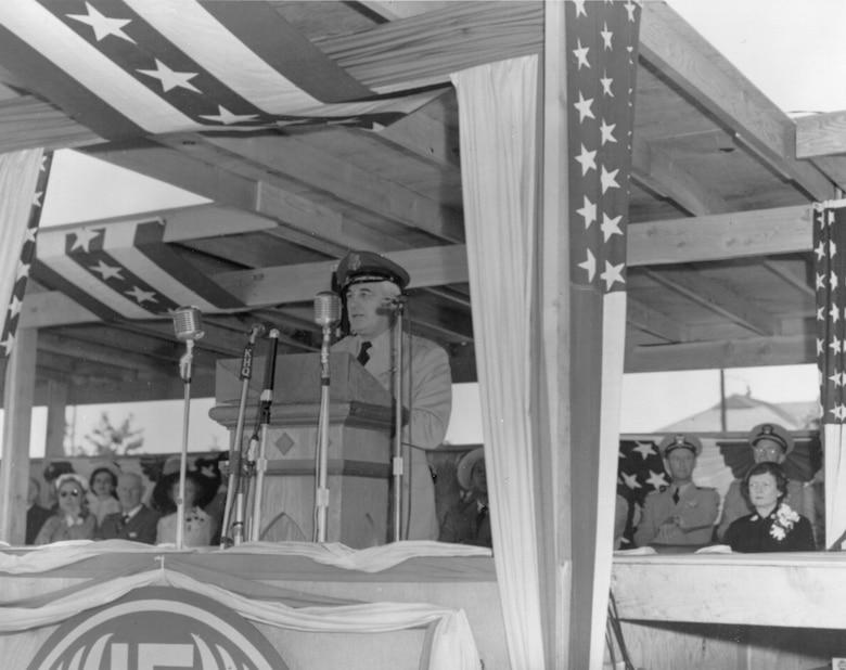 Gen. Nathan F. Twining, Air Force Vice Chief of Staff speaking at the dedication ceremony July 20, 1951 (Historical photo)