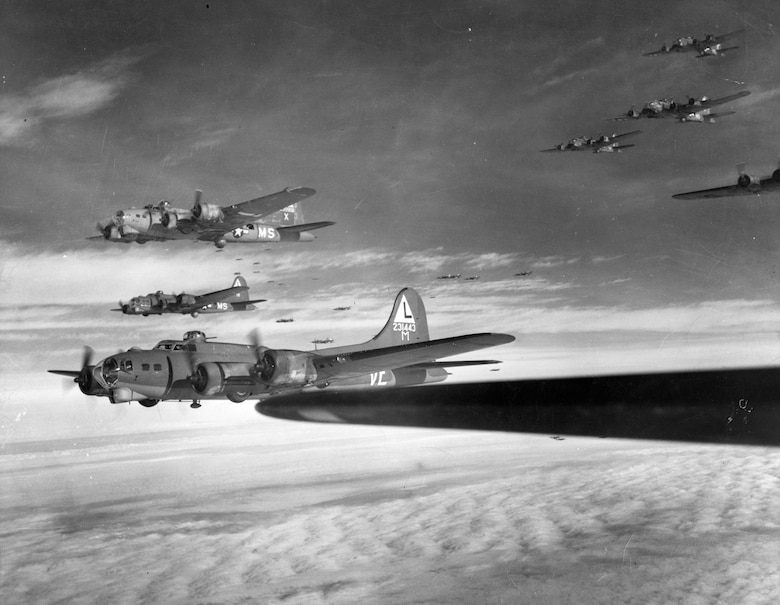 AAF heavy bombers during World War II. (U.S. Air Force photo)