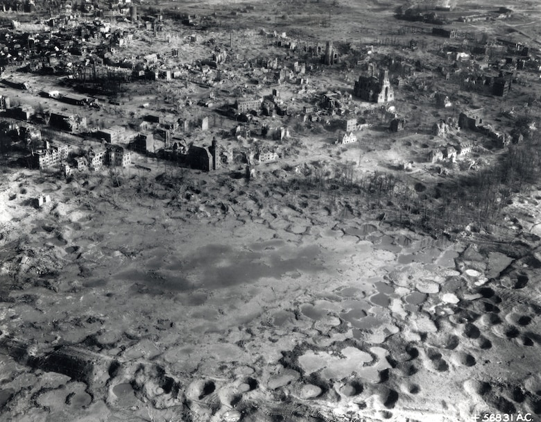 Ruins of Wesel, Germany, devastated by Allied bombing in preparation for the crossing of the Rhine on March 22-23, 1945. (U.S. Air Force photo)