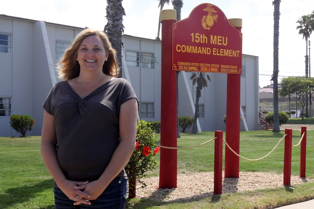 Audrey Hooper is the Family Readiness Officer (FRO) for the 15th Marine Expeditionary Unit (MEU) Command Element (CE). A military wife herself, Audrey has first-hand experience the rigors of military life and that has helped make her successful as the unit's FRO.