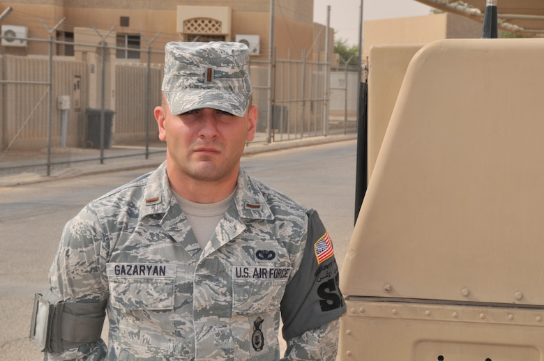 2nd Lt. Konstantin Gazaryan of the 64th Expeditionary Security Forces Squadron, deployed from Offutt Air Force Base, Neb., says his reason for serving in the military is that it wouldn't be right if he didn't stand up and answer the call when his country needed him most, after his country was there for him. The lieutenant immigrated to the United States at the age of eight after being forced out of his birth country, Azerbaijan, during a time he and many news sources describe as genocide. (U.S. Air Force photo/ Master Sgt. Mike Hammond)