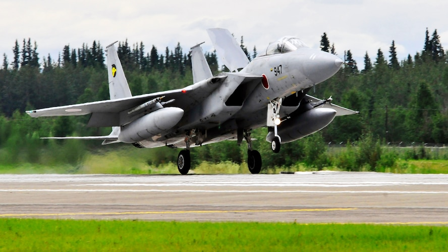 An F-15 Eagle lands after a sortie July 15, 2011, Eielson Air Force Base, Alaska.  The F-15 flew a variety of tactics and missions in concert with other participating aircraft throughout the exercise.  The F-15 Eagle belongs to the Japan Air Self Defense Force. (U.S. Air Force photo by/Staff Sgt. Miguel Lara)