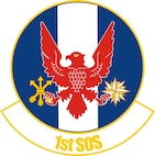 The emblem is symbolic of the squadron and its mission. The red, white and blue are the national colors that ride with the squadron into battle and victory. The pale alludes to the numeral 1, the unit's numerical designation and marks it as first among its peers. The eagle represents the squadron's air mission and the three arrows depict the unit's capability to strike, to reconnoiter and to resupply. The compass rose signifies the squadron's worldwide reaction capability. The colors gold and blue denote the sky, the primary theater of Air Force operations, with gold referring to the sun and day, and blue to night, and also indicating the squadron's ability to work in darkness as well as light. The emblem bears the national colors and the Air Force colors gold and ultramarine blue.