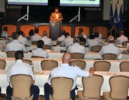 Fourth Air Force leaders listen to a briefing presented by Mr. Edward S. Jones, Comptroller and Director of Financial Management, Air Force Reserve Command, Robins Air Force Base, Ga., during the annual 4th Air Force Senior Leader's Conference at the Mission Inn in Riverside, Calif, July 20, 2011. The two-day conference is held to provide 4th Air Force leaders with the latest information on developments that affect 4th Air Force organizations. (U.S. Air Force photo/1st Lt. Zach Anderson)