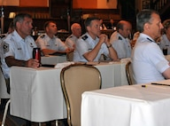 Fourth Air Force leaders listen to a briefing during the annual 4th Air Force Senior Leader's Conference at the Mission Inn in Riverside, Calif, July 20, 2011. The two-day conference is held to provide 4th Air Force leaders with the latest information on developments that affect 4th Air Force organizations. (U.S. Air Force photo/1st Lt. Zach Anderson)