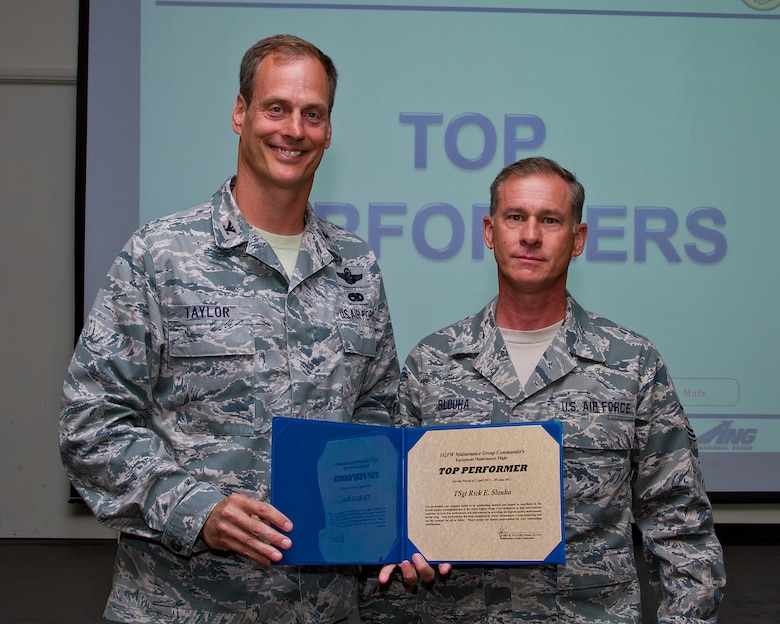 Col. James Taylor (left) presents Tech. Sgt. Rick Slouha the Top Performers Award for his work with the Equipment Maintenance Flight. (U.S. Air Force photo/Senior Airman Chris Heising)