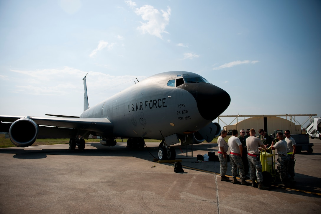 Aircrew and maintainers from the 90th Expeditionary Air Refueling Squadron prepare a KC-135R Stratotanker aircraft for a flight July 20, 2011, at Incirlik Air Base, Turkey. The 90th EARS, a total-force team consisting of nearly 100 active-duty, Reserve and Air National Guard Airmen, conducts air-to-air refuels to C-17 Globemaster IIIs and C-5 Galaxies coming in and out of the area of operations. (U.S. Air Force photo by Tech. Sgt. Michael B. Keller/Released)