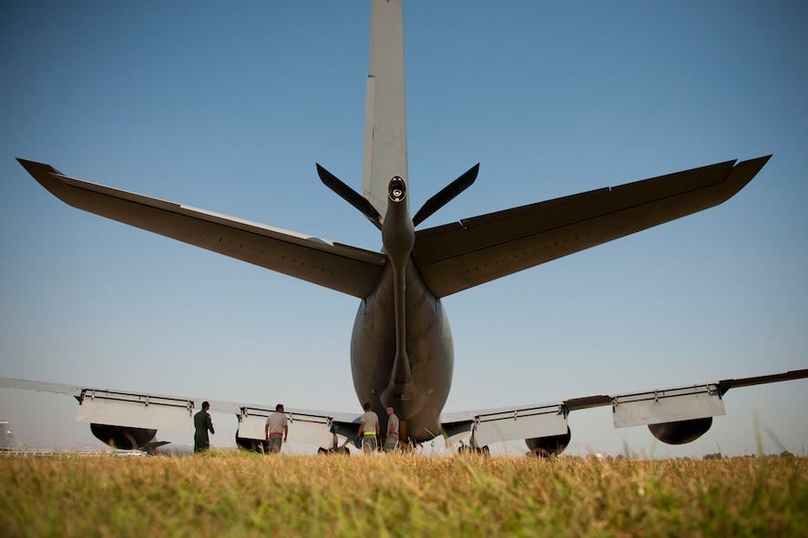 Aircrew and maintainers from the 90th Air Refueling Squadron prepare a KC-135R Stratotanker aircraft for a flight July 20, 2011, at Incirlik Air Base, Turkey. The 90th EARS, a total-force team consisting of nearly 100 active-duty, Reserve and Air National Guard Airmen, conducts air-to-air refuels to C-17 Globemaster IIIs and C-5 Galaxies coming in and out of the area of operations. (U.S. Air Force photo by Tech. Sgt. Michael B. Keller/Released)