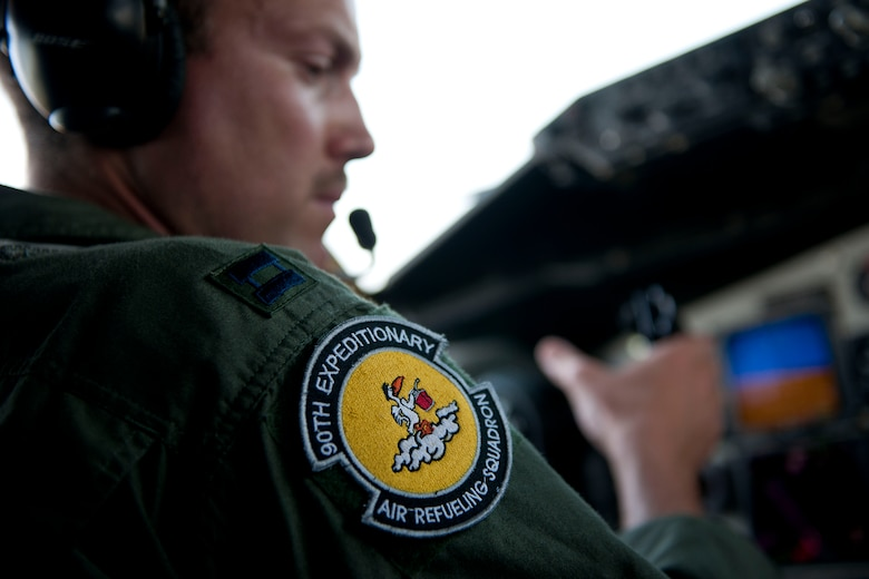 Capt. Chris Kidd, a pilot from the 90th Expeditionary Air Refueling Squadron, completes preflight checks on a KC-135R Stratotanker before a flight July 20, 2011, at Incirlik Air Base, Turkey. The 90th EARS, a total-force team consisting of nearly 100 active-duty, Reserve and Air National Guard Airmen, conducts air-to-air refuels to C-17 Globemaster IIIs and C-5 Galaxies coming in and out of the area of operations. (U.S. Air Force photo by Tech. Sgt. Michael B. Keller/Released)