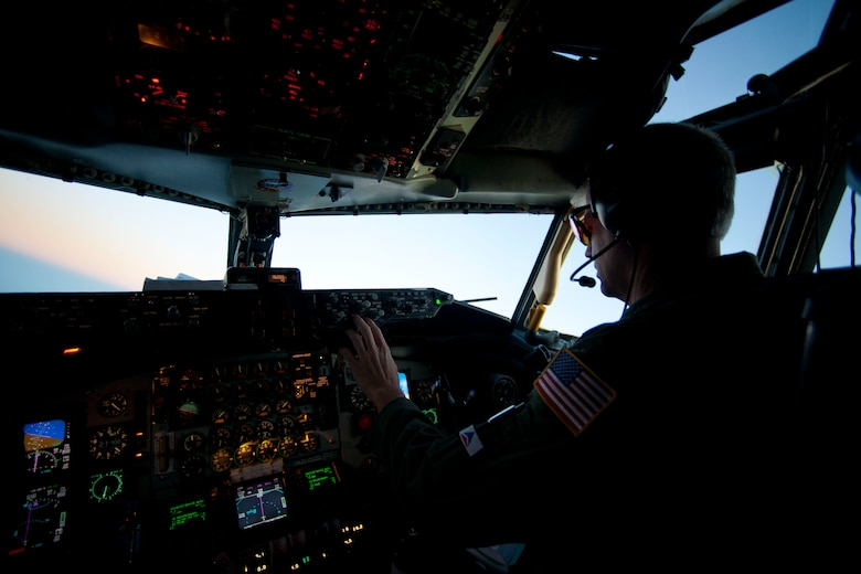 Lt. Col. Barry Jones, 90th Expeditionary Air Refueling Squadron commander, pilots a KC-135R Stratotanker aircraft July 20, 2011, over Turkey. The 90th EARS, a total-force team consisting of nearly 100 active-duty, Reserve and Air National Guard Airmen, conducts air-to-air refuels to C-17 Globemaster IIIs and C-5 Galaxies coming in and out of the area of operations. (U.S. Air Force photo by Tech. Sgt. Michael B. Keller/Released)