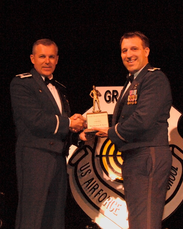 "Maj. Nathan ""Shaggy"" Aysta is awarded the U.S. Air Force Weapons School, F-16, Class 11A ""Flying Award"" for demonstrating excellent instructor performance in brief, execution, and debrief throughout the course during the Weapons School graduation in Las Vegas, Nev. on Saturday, June 11, 2011."