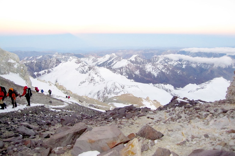 A view from the top of Cerro Aconcagua in Argentina. Army Staff Sgt. Trevor