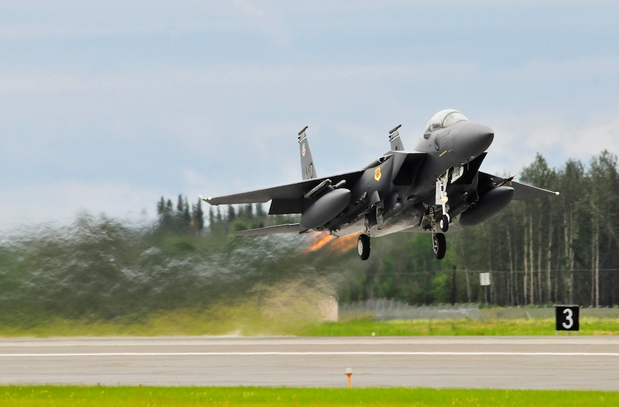 A Republic of Singapore Air Force F-15SG Strike Eagle launches from the runway during RED FLAG-Alaska 11-2 July 19, 2011, Eielson Air Force Base, Alaska.  RF-A allows participating units to exchange tactics, techniques and procedures as well as improve interoperability.  The 428th Fighter Squadron is a U.S.-based Foreign Military Squadron from the 366th Fighter Wing at Mountain Home Air Force Base, Idaho. (U.S. Air Force photo/Staff Sgt. Miguel Lara III)