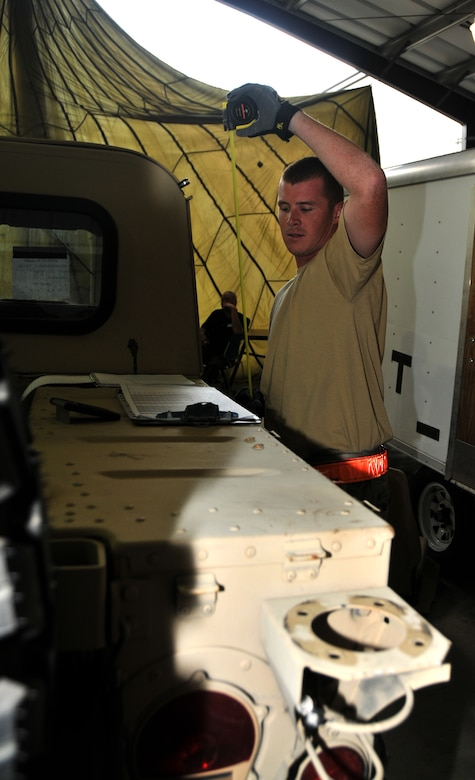 An Airman calculates the height of a Humvee, July 27, 2011 at Joint Base Lewis-McChord, Wash., during a joint inspection competition. The event was part of Air Mobility Rodeo 2011, a biennial international competition that focuses on mission readiness, featuring airdrops, aerial refueling and other events that showcase the skills of mobility crews from around the world. (U.S. Air Force photo/Airman 1st Class Jared Trimarchi)