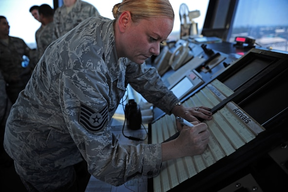 Tech. Sgt. Jennifer Rowles, 39th Operations Squadron tower watch supervisor, updates aircraft arrival information July 27, 2011, at Incirlik Air Base, Turkey. Air traffic controllers here run about 25,000 operations a year. (U.S. Air Force photo by Senior Airman Anthony Sanchelli/Released)
