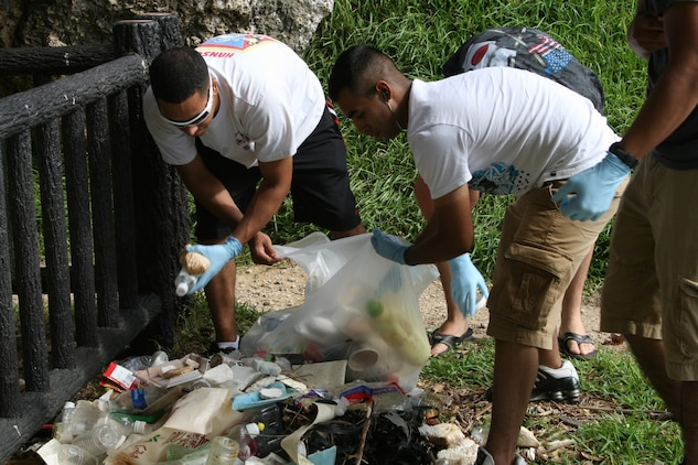 Marine volunteers from Marine Medium Helicopter Squadron – 265 (Reinforced), 31st Marine Expeditionary Unit, remove trash and debris from Taguchi Beach, Okinawa, Japan, on the morning of July 30. The groups spent more than two hours removing enough trash and debris to fill 15 (33-gallon) bags. The 31st Marine Expeditionary Unit is the only continually forward-deployed MEU, and remains the United States' force-in-readiness in the Asia-Pacific region.