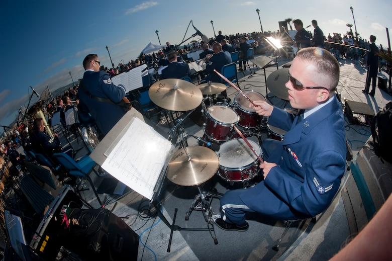 U.S. Air Force Airman 1st Class Simon Thomsen, 531st Air National Guard Band of the Gulf Coast performs at Redondo Beach Pier, Rendondo Beach, Calif., July 16, 2011. Thomsen, a percussionist, performs with the combined bands of the 531st and 562nd Air National Guard Band of the Southwest during their 2011 Southwest tour. (U.S. Air Force Photo by Tech. Sgt. Charles Hatton)