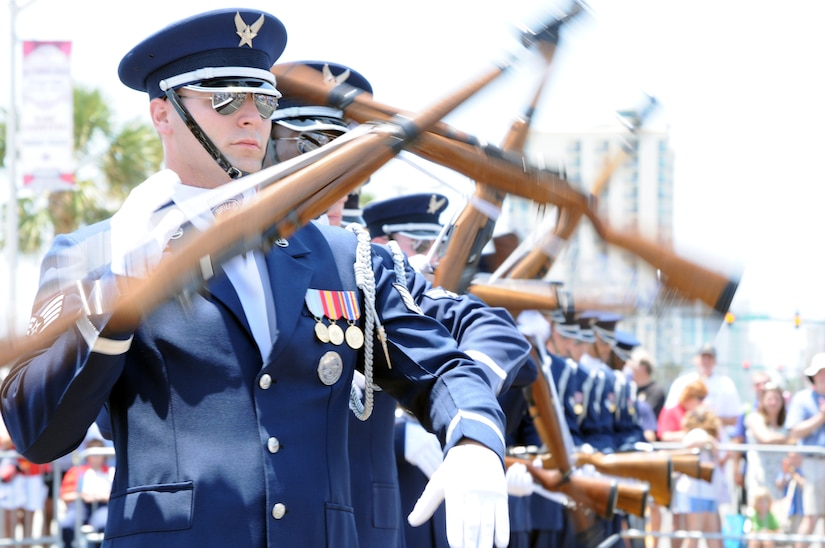 Staff Sgt. Mark Freda and fellow members of the U.S. Air Force Honor Guard Drill Team participate in Memorial Day commemorations in  Myrtle Beach, S.C., May 28. (U.S. Air Force photo by Airman 1st Class Tabitha N. Haynes)