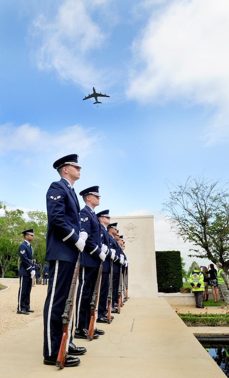 Cambridge, England -- An RAF Mildenhall KC-135 Stratotanker performs a fly-by during the Madingley American Cemetery Memorial Service in Cambridge May 30, 2011. There were a total of three flyovers during the service to include a MC-130H Combat Talon II from RAF Mildenhall, and two F-15E Strike Eagles from RAF Lakenheath. (U.S. Air Force photo/Senior Airman Ethan Morgan)