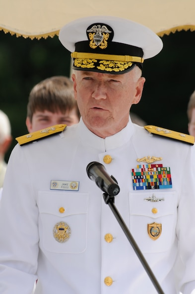 U.S. Navy Rear Adm. James Foggo, 6th Fleet deputy commander, delivers a speech during a Memorial Day service at the Luxembourg American Cemetery and Memorial in Luxembourg May 28. The cemetery and memorial is the final resting place for more than 5,000 U.S. service members, including Gen. George S. Patton. (U.S. Air Force photo/Staff Sgt. Benjamin Wilson)
