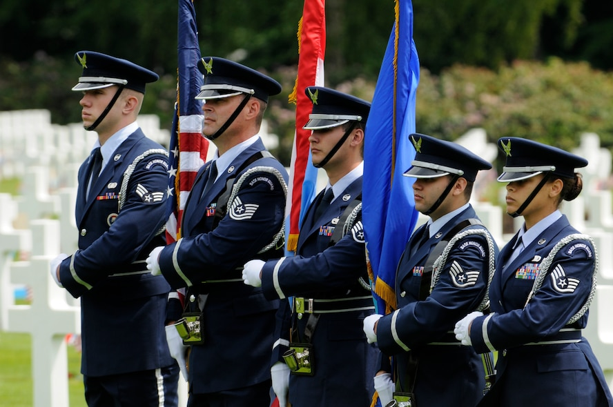 LUXEMBOURG – The 52nd Fighter Wing Honor Guard prepares to post the colors during a Memorial Day service at the Luxembourg American Cemetery and Memorial in Luxembourg May 28. The cemetery and memorial is the final resting place for more than 5,000 U.S. service members, including Gen. George S. Patton. (U.S. Air Force photo/Staff Sgt. Benjamin Wilson)