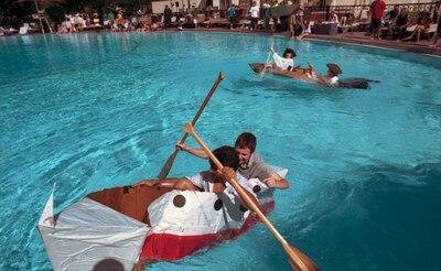 During The Fourth Annual Randolph High School Physics And PreCal Cardboard Boat Regatta Ryan Goodwin