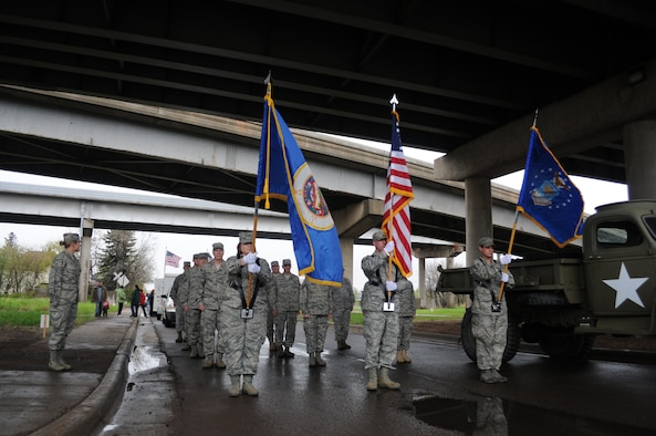 Members of the 148th Fighter Wing, Duluth, Minn. form up for the Memorial day parade in Duluth Minn. on May 30, 2011.  The rainy weather held out long enough for the parade to go on as planned and went through the West End of Duluth. (U.S. Air Force photo by Staff Sgt. Donald Acton/released)