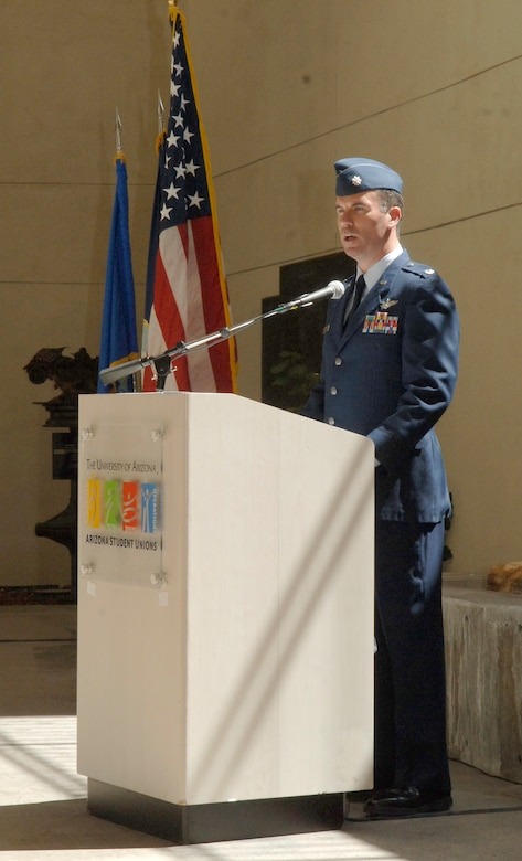 Lt. Col. Chris Buckley, 612th Air Operations Center, Strategy Division chief, delivers a speech during a memorial ceremony honoring the Doolittle raid and victory at the Battle of Midway June 3. (U.S. Air Force photo/Tech. Sgt. Eric Petosky)