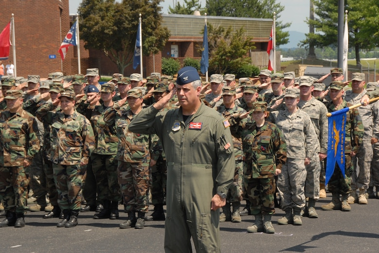 Col Thomas Cauthen renders a salute during the ceremony to award the 11th AFOUA to the 134th ARW. (Air National Guard Photo by Tech Sgt. David Knable)