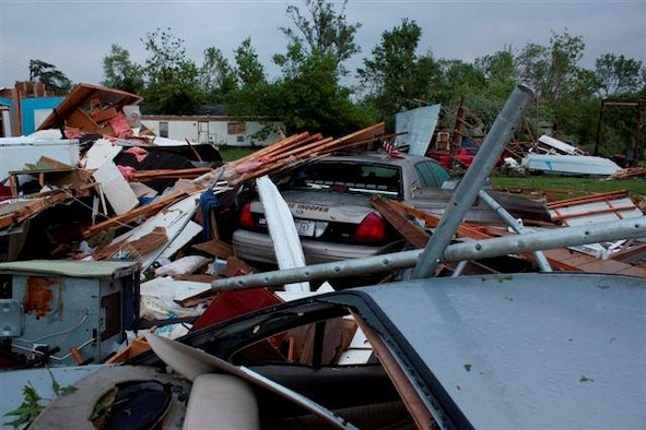 The remains of Master Sgt. Jeffrey Norling's house,following the May 21 tornado that struck his town of Reading, Kan.