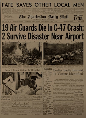 The April 8, 1951 cover from the Charleston Daily Mail reports on the crash of a C-47B Skytrain cargo plane that was carrying 21 airmen from the West Virginia Air National Guard 167th Fighter Squadron. The accident, which occurred a little more than 60 years ago, remains the worst in the history of the West Virginia Air National Guard. (U.S. Air Force photo reproduction by Tech. Sgt. Eugene R. Crist)