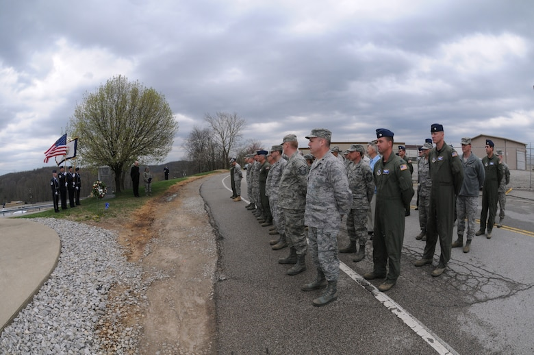 Members of the 130th Airlift Wing, Charleston, W.Va. memorialize the 60th anniversary of the C-47B Skytrain cargo plane crash that claimed 21 lives. The accident remains the worst in the history of the West Virginia Air National Guard. (U.S. Air Force photo by Tech. Sgt. Eugene R. Crist)
