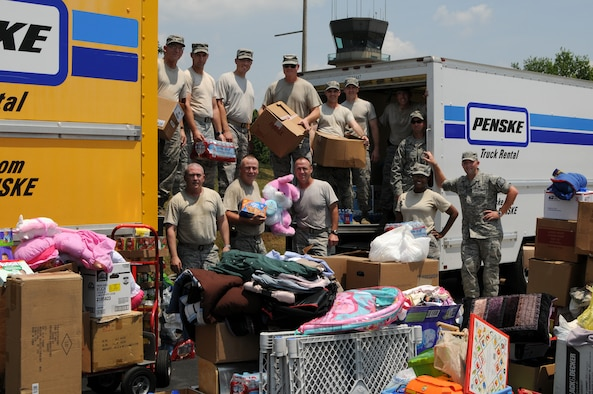 McGHEE TYSON AIR NATIONAL GUARD BASE, Tenn. -  Members of The I.G. Brown Air National Guard Training and Education Center help load a truck with donated items, June 3, 2011,that will be delivered to the victims of the tornado that devastated Joplin, Mo.  (U.S. Air Force photo by Master Sgt. Mavi Smith/Released)