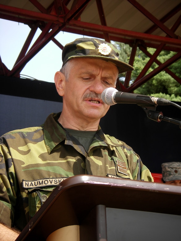 CAMP PEPELISHTE, Macedonia – Col. Andreja Naumovski, Macedonian co-director of Medical Training Exercise in Central and Eastern Europe, gives his opening remarks during the MEDCEUR 2011 opening ceremony here June 6.  The countries participating in this year's MEDCEUR are Macedonia, Montenegro, Bosnia and Herzegovina, Serbia, Slovenia, Norway and the United States.  MEDCEUR is a Partnership for Peace and Chairman of the Joint Chiefs of Staff-sponsored regional and multilateral exercise in Central and Eastern Europe designed to provide medical training and operational experience in a deployed environment.  (U.S. Air Force photo/Master Sgt. Kelley J. Stewart)