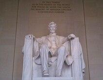 President Abraham Linclon's 19-foot-tall marble effigy at the Linclon Memorial in Washington, D.C.
