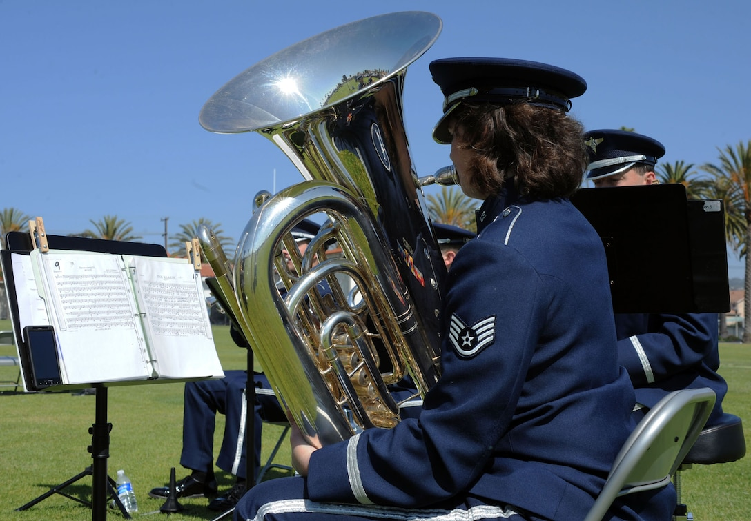 Musicians from the Band of the Golden West, play ceremonial music during the SMC change of command ceremony, June 3. Lieutenant Gen. Ellen Pawlikowski assumed command from Lt. Gen. Tom Sheridan at the ceremony. (Photo by Sarah Corrice)